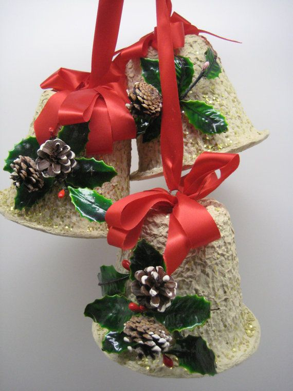Bell Decoration Unique Reserved For Theresa Mid Century Paper Mache Bells Christmas Door Design Ideas