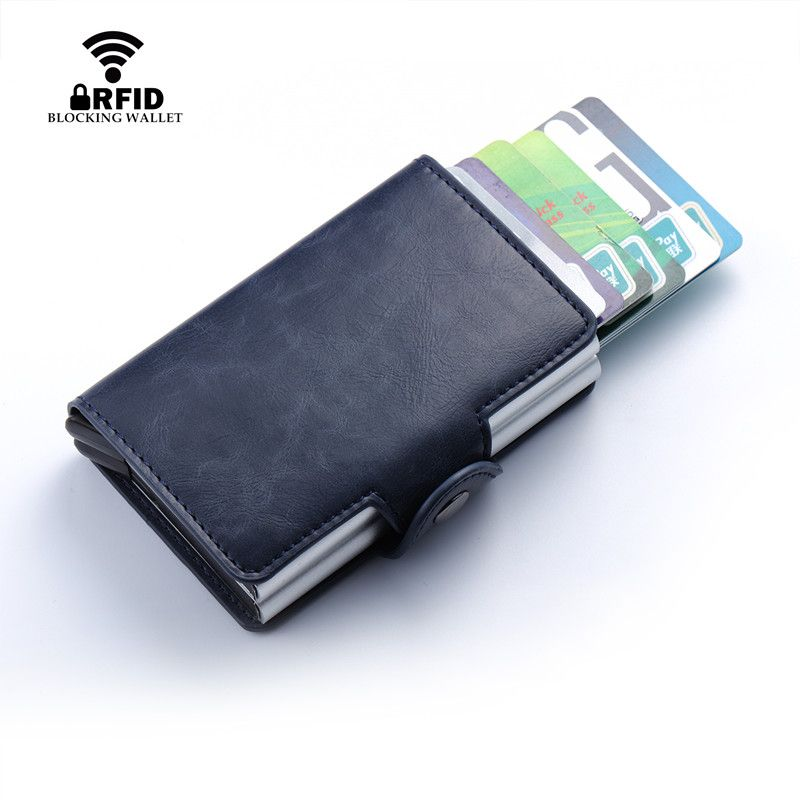 Stainless Aluminum Credit Holder Leather PU Business Case Card Wallet Box