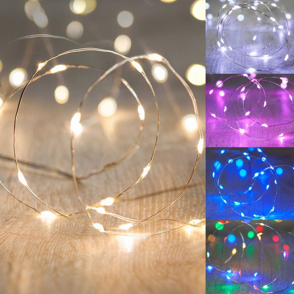 Details zu 1-10x 20er LED Micro Lichterkette Draht Silber Deko ...
