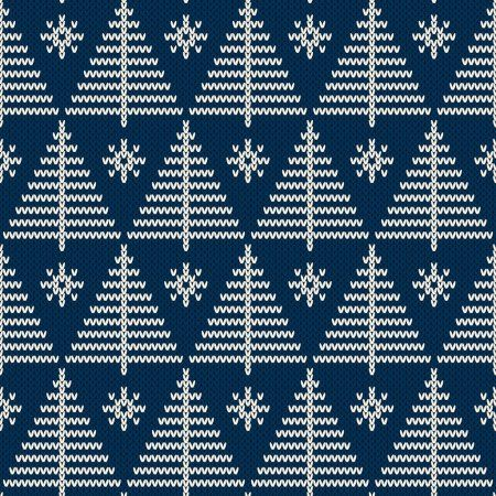 Photo of Seamless pattern of winter holidays knitted with a Christmas trees. Knitting k …