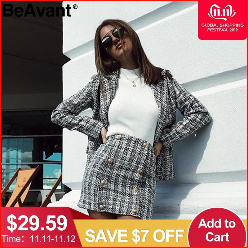 Cheap Blazers, Buy Directly from China Suppliers:BeAvant Two-piece set plaid twe... 2