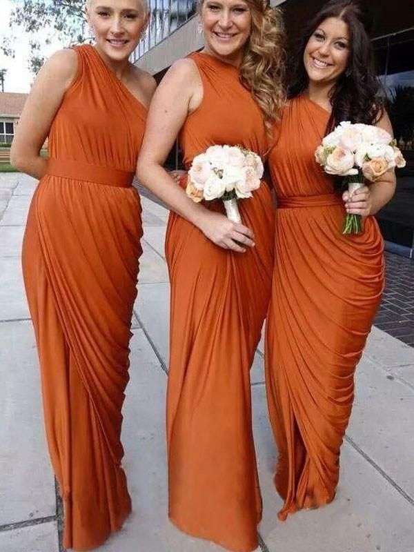 One Shoulder Bridesmaid Dress Floor Length Pretty Charming Pd193