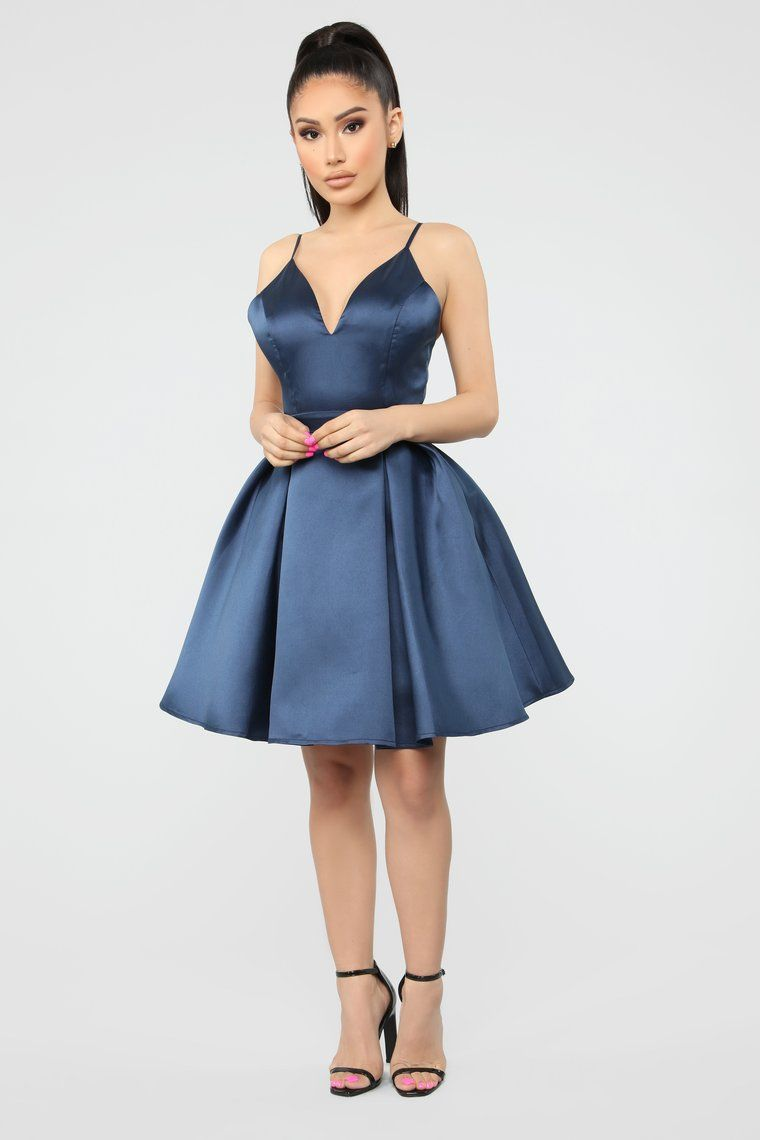 Loving You Always Fit And Flare Dress - Navy