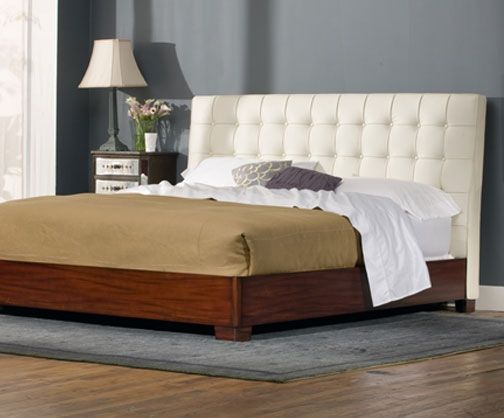 Newhouse Contemporary White Leather Bed King Size From