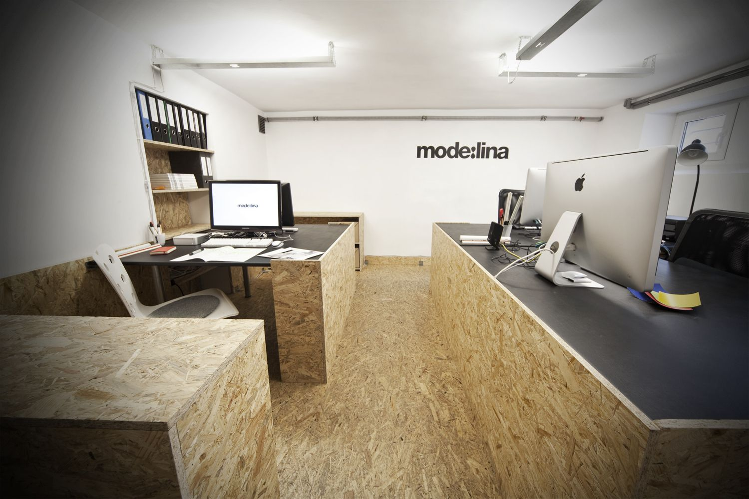 OSB plywood panelling office.