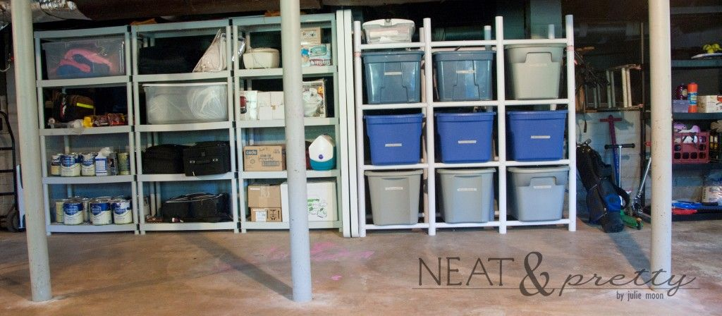 Organizing keepsakes in a basement.