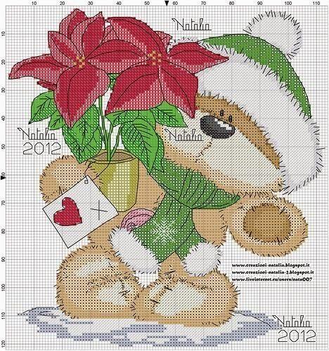 Transversal esquemática puntada felpa con poinsettia | Hobby empleos femeninos - Bordado - crochet - tejido