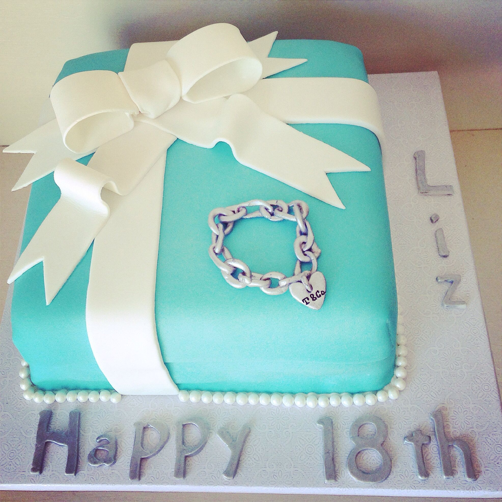 Tiffany blue box cake with heart charm bracelet for 18th birthday