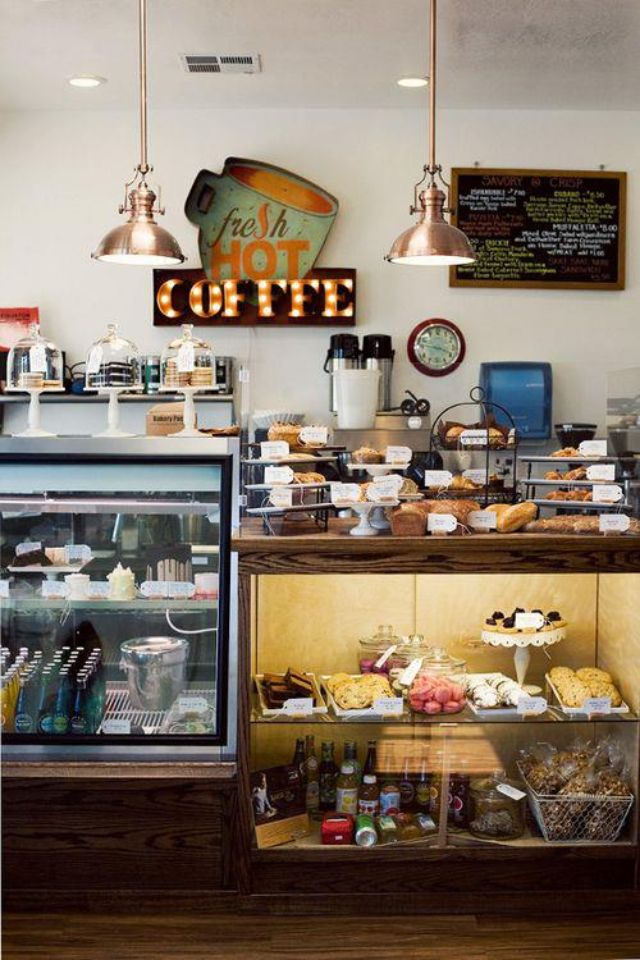 Fridge Built In Desk Cafe Shop Inset Display Cabinets My Coffee Shop Bakery Cafe Shop Interiors