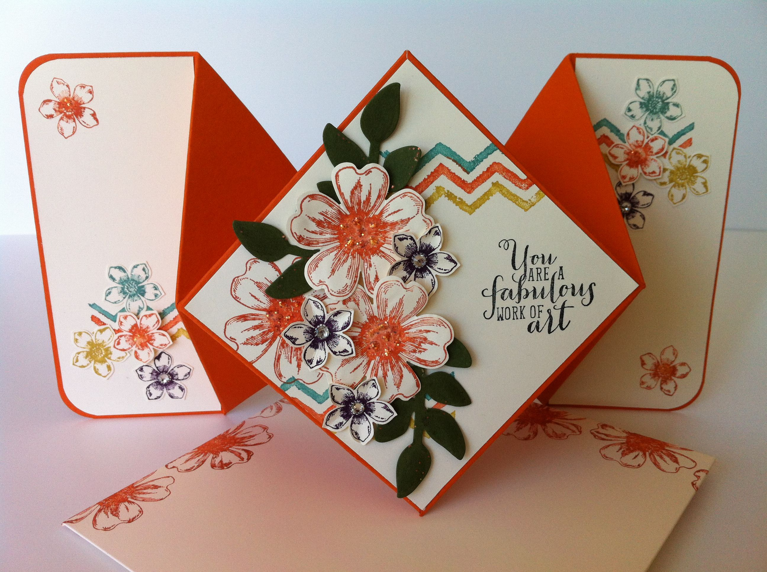 diamond fold card with matching handmade envelope check