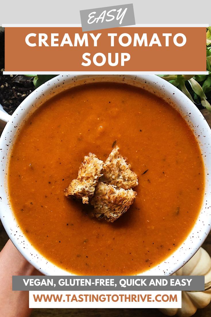 Easy Vegan Creamy Tomato Soup Vegan Soup Recipes Vegan Recipes Easy Easy Vegan Soup