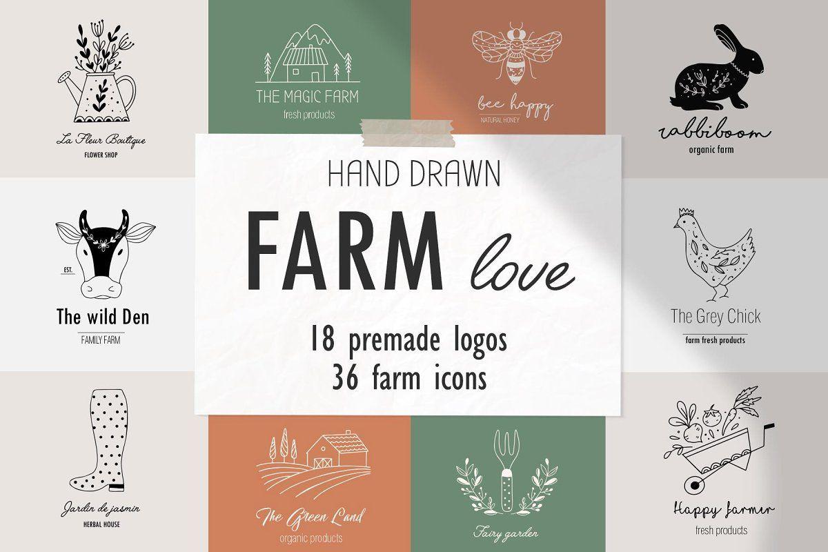 Farm love premade logos set Premade logo templates