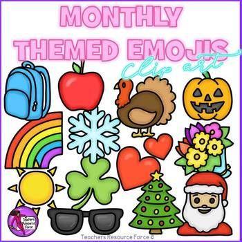 Emoji Clip Art Monthly Themed Emojis Clip Art Monthly Themes Book Clip Art