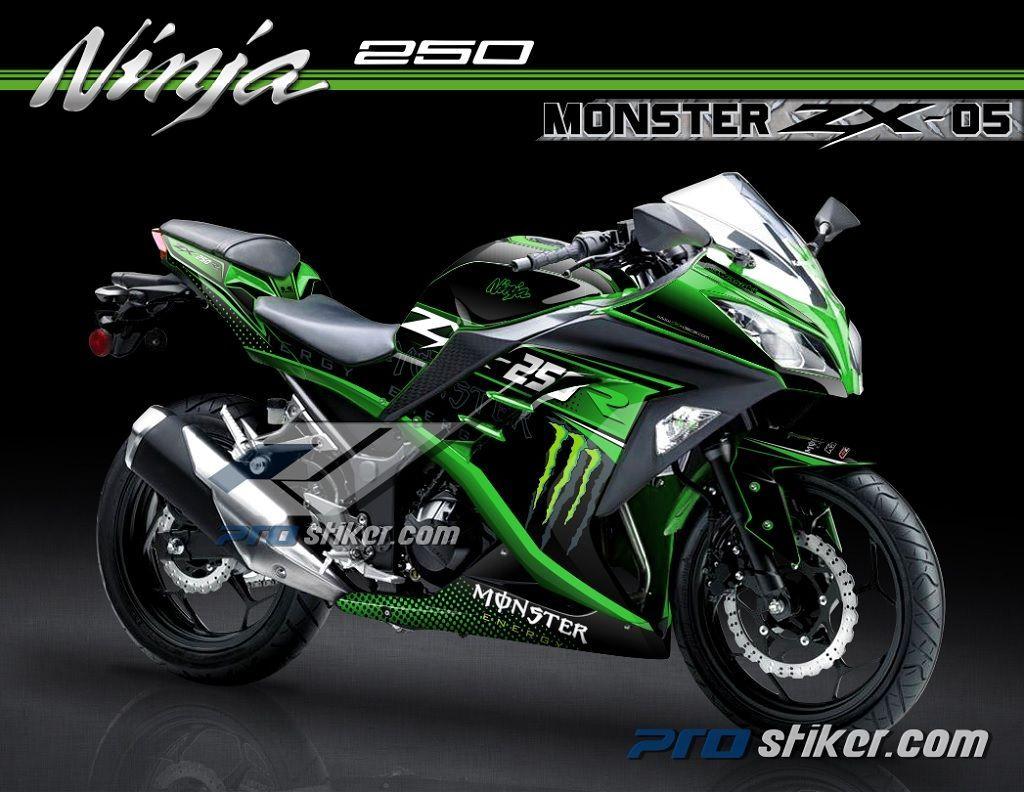 Exceptionnel Striping Motor Kawasaki Ninja 250 Fi Warna Hijau Desain Monster  Energy Zx 05
