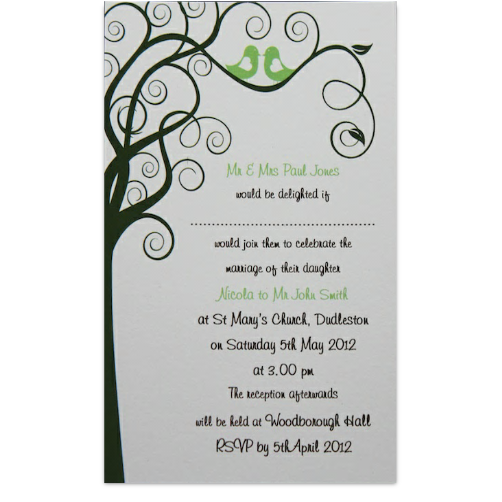 Rustic wedding invite in green, £1.60, #rusticweddinginvitiations
