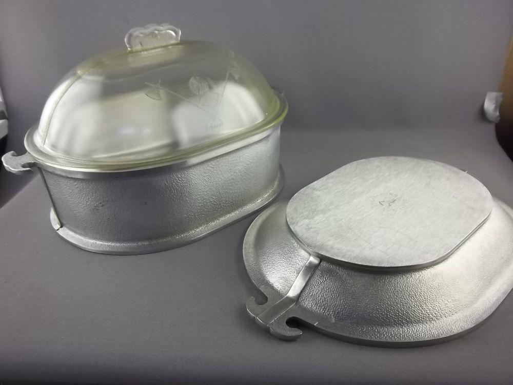Vintage Guardian Service Ware Aluminum Roasting Pan Glass Lid Alum  Lid/Platter