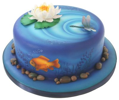 Airbrushing Cakes & Sugarcrafts Training Course (Part - Lisa Munro (TBA) Cute Cakes, Pretty Cakes, Beautiful Cakes, Amazing Cakes, Pond Cake, Airbrush Cake, Hand Painted Cakes, Gateaux Cake, Specialty Cakes