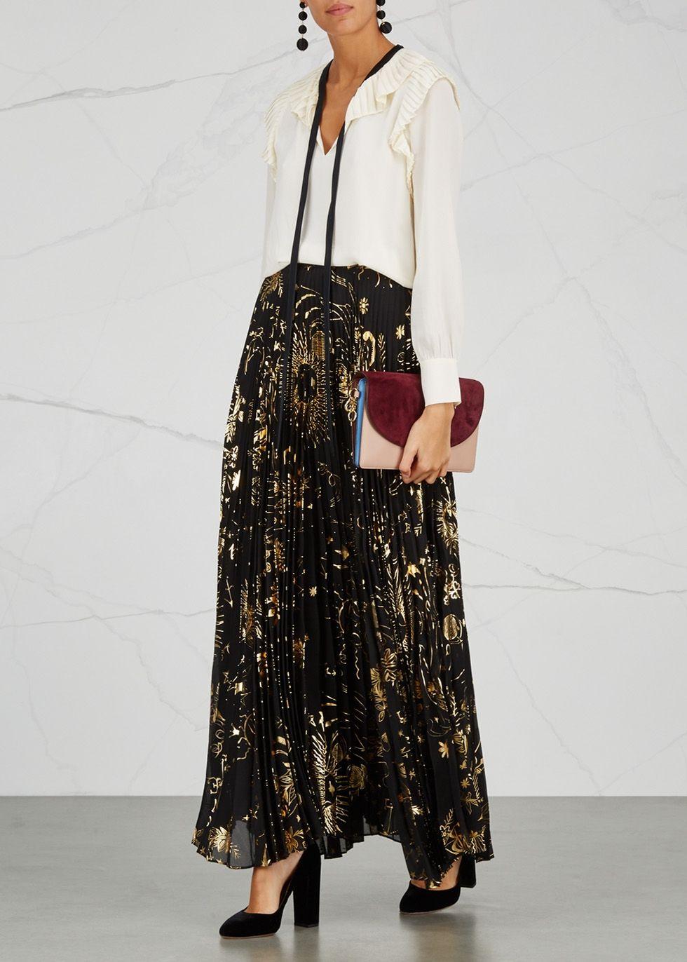 f5902d769f Alice + Olivia Shannon foil-print pleated maxi skirt   Women's New ...