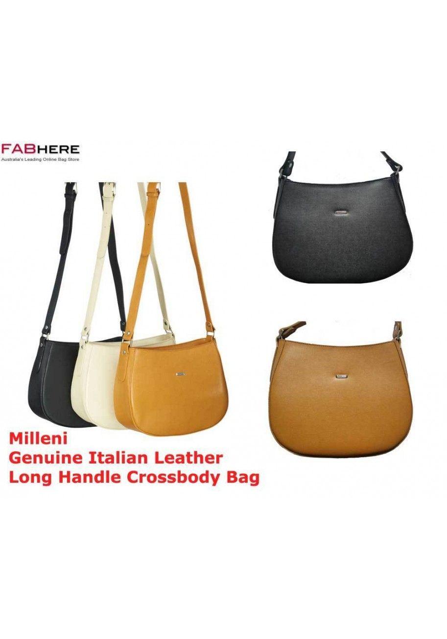 Morrissey Genuine Italian Leather Long Handle Cross Body Bag