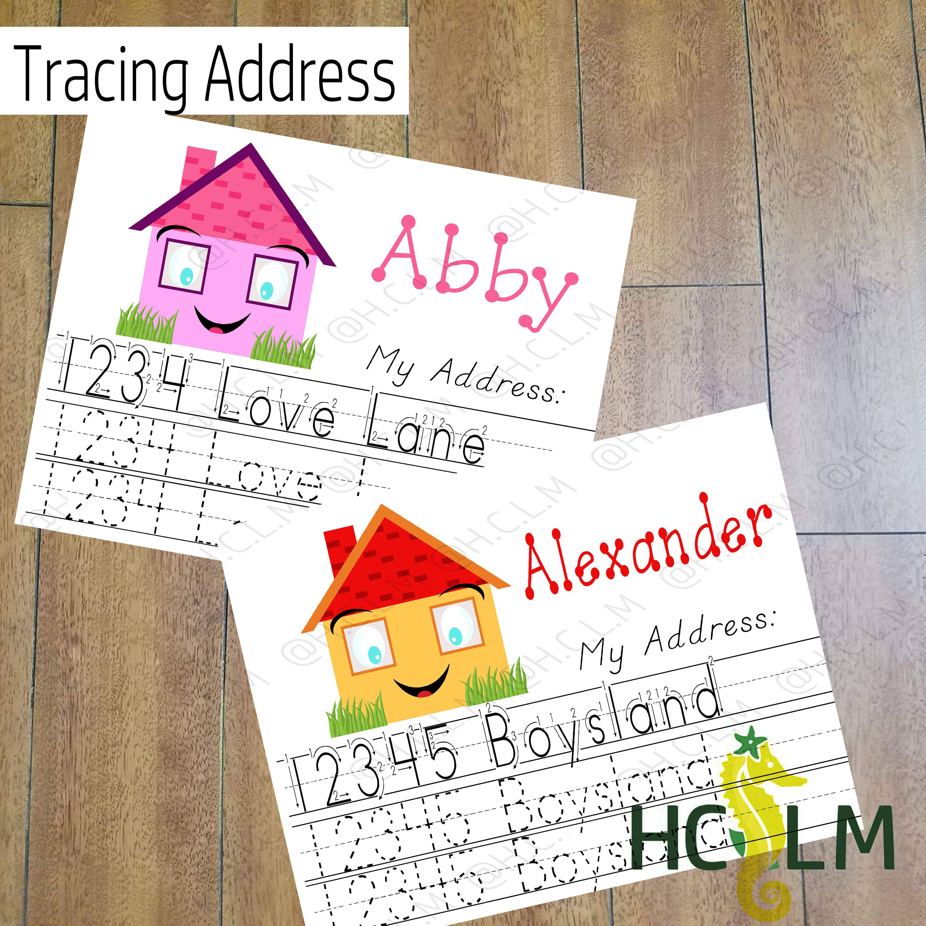 Kids Address Tracing Worksheet Learn Your Address I Know