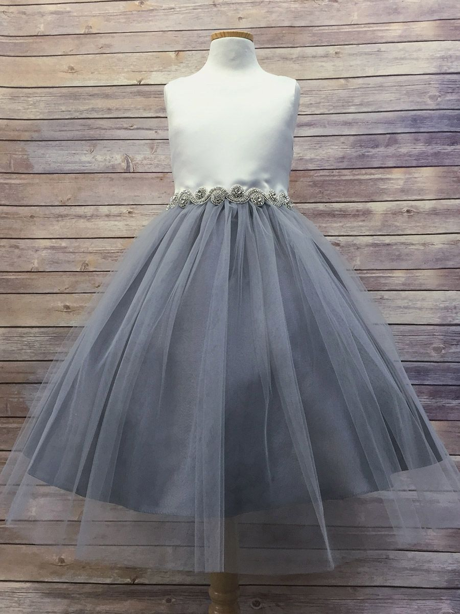 Grayoffwhite satin u tulle dress w gem belt in and the