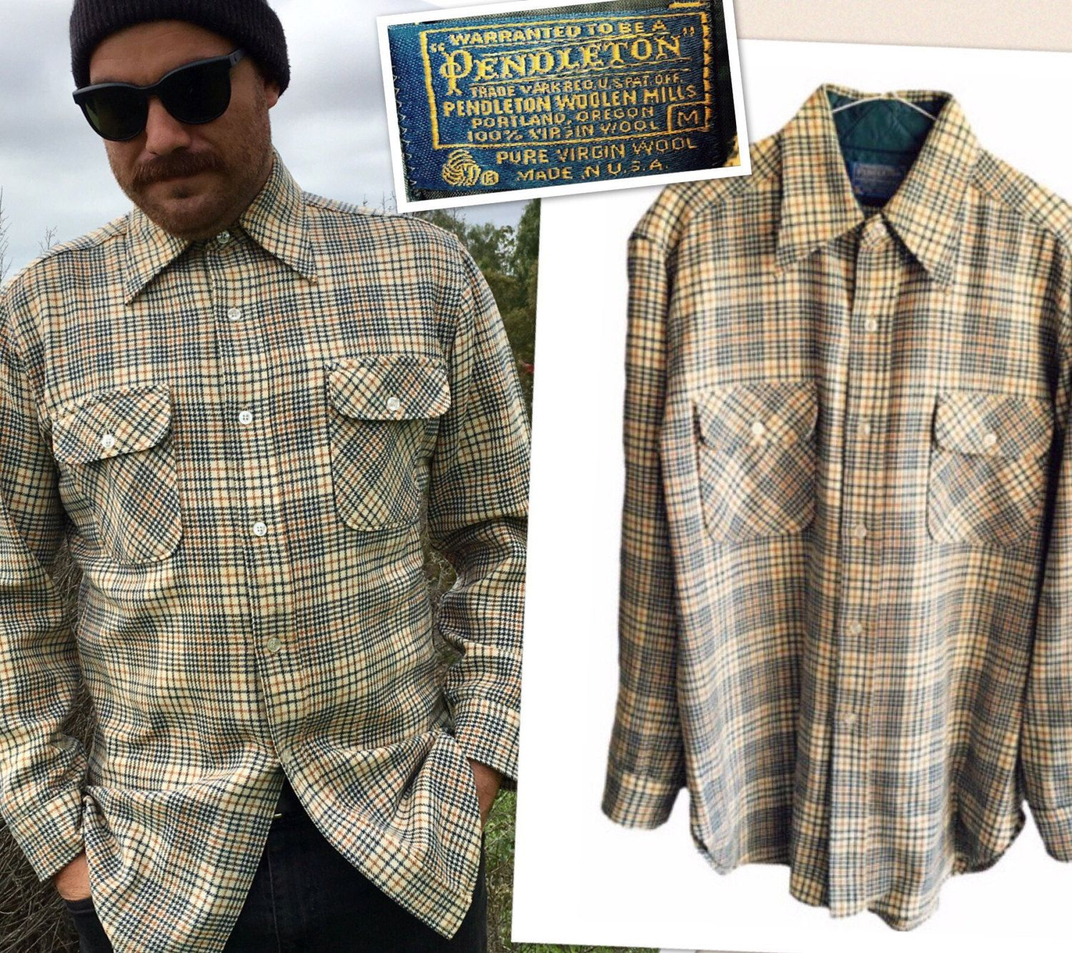 Flannel men's style  Pendleton plaid Flannel Menus medium womens tan brown Authentic Pure