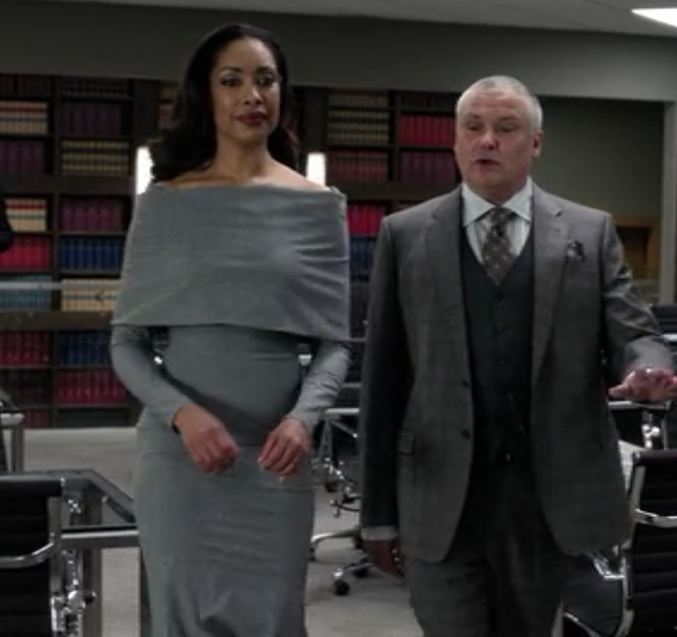 Jessica Pearson Gina Torres Grey Flannel Cowl Dress Suits Tv