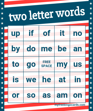 Free Printable Bingo Cards | two letter words activities ...
