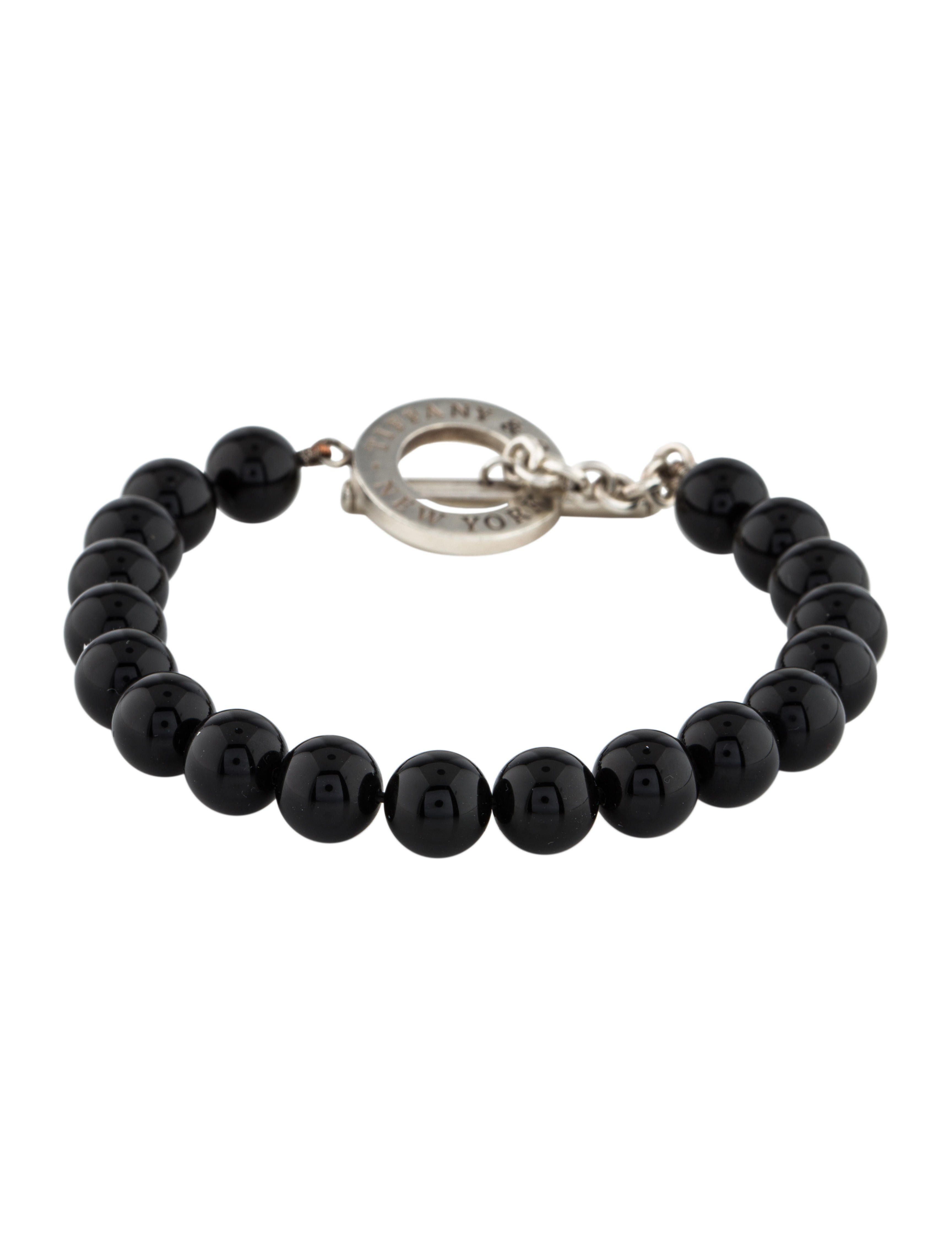762c8299b Black onyx bead Tiffany & Co. bracelet with sterling silver toggle closure.  Includes jewelry pouch.