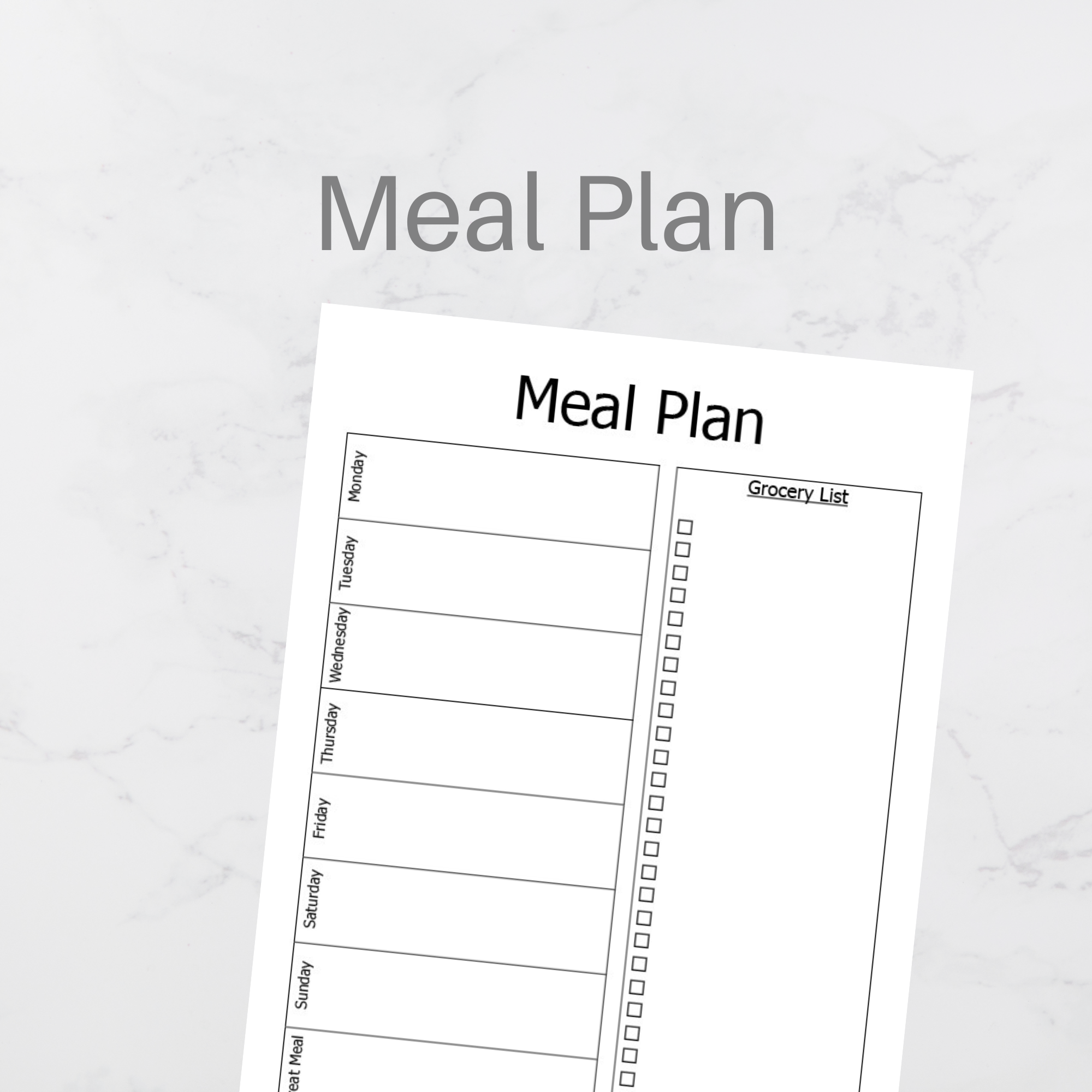 A5 Size Minimal Meal Plan Worksheet Planner Printable