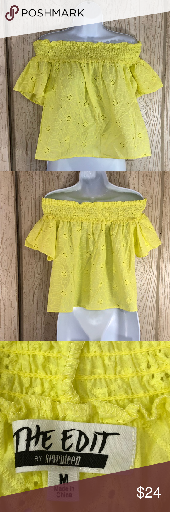 0a185fe8c9cbc The Edit by Seventeen Off-The -Shoulder Crop Top M NWT Junior Color is  Yellow Style is 2177022 Eyelet material Smocked top Short sleeves Please  see pictures ...