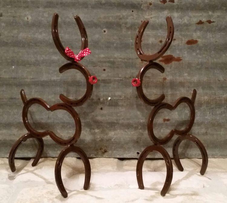 Horseshoe Reindeer Horseshoe Decor Horseshoe Crafts Horseshoe