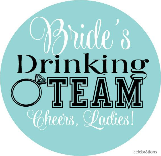 Brides drinking team stickers vinyl cup stickers washable great for glass acrylic and plastic tumbler style cups