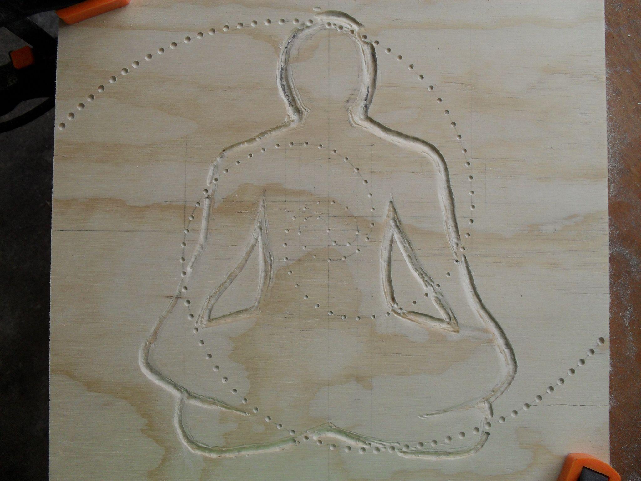 Sucesión Fibonacci, hombre meditando/ Fibonacci number in wood, man meditating. meditation. Carving/tallado. Sacred geometry