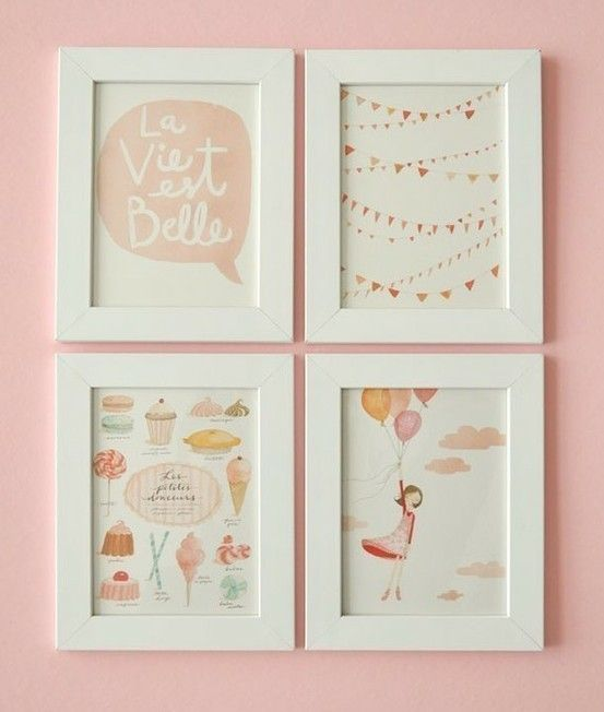 la vie en rose theme - love this wall color! Lucy's room?