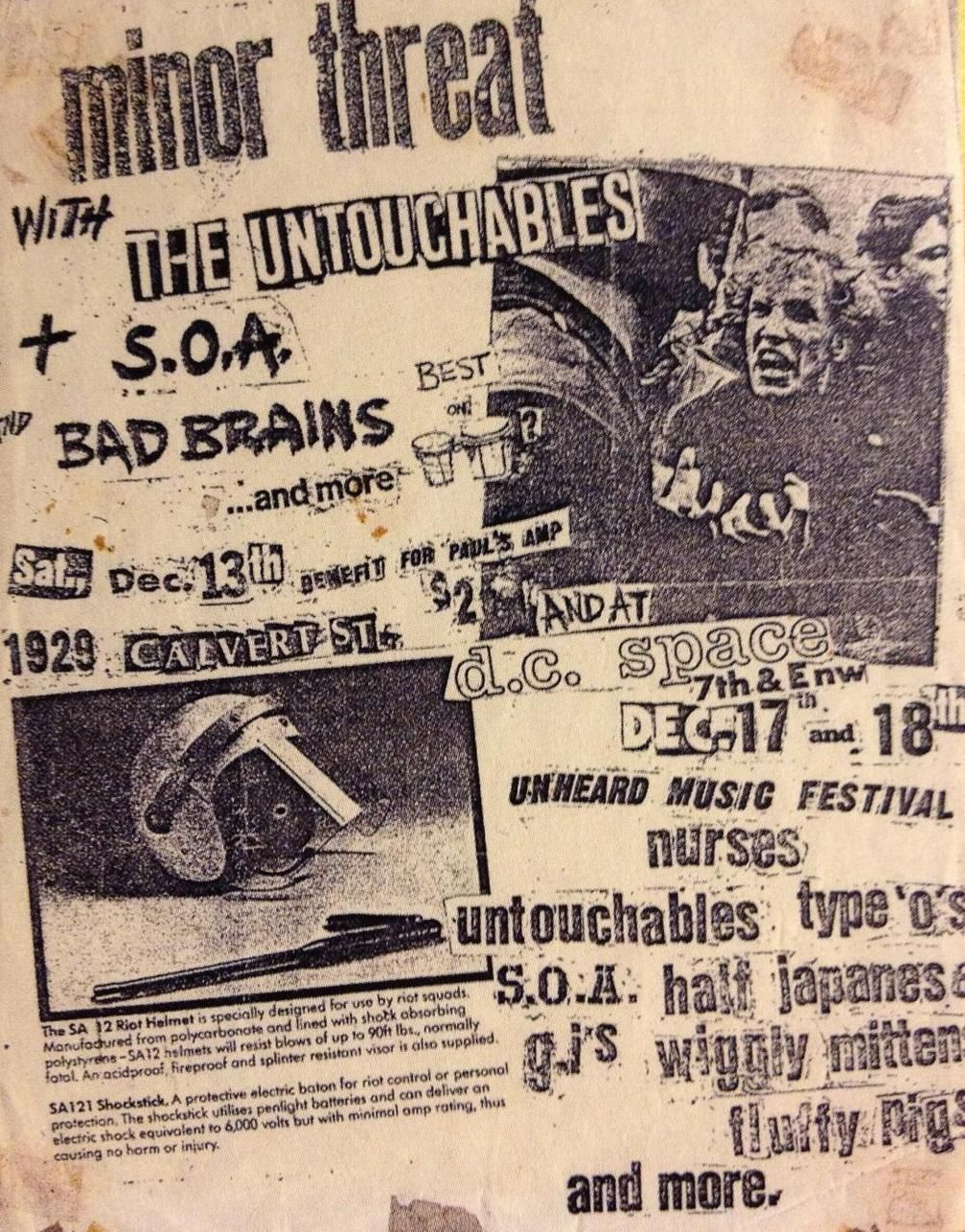 Minor Threat's first gig, SOA, Bad Brains, & Untouchables @ a basement  party,Calvert St. NW Dec 1980
