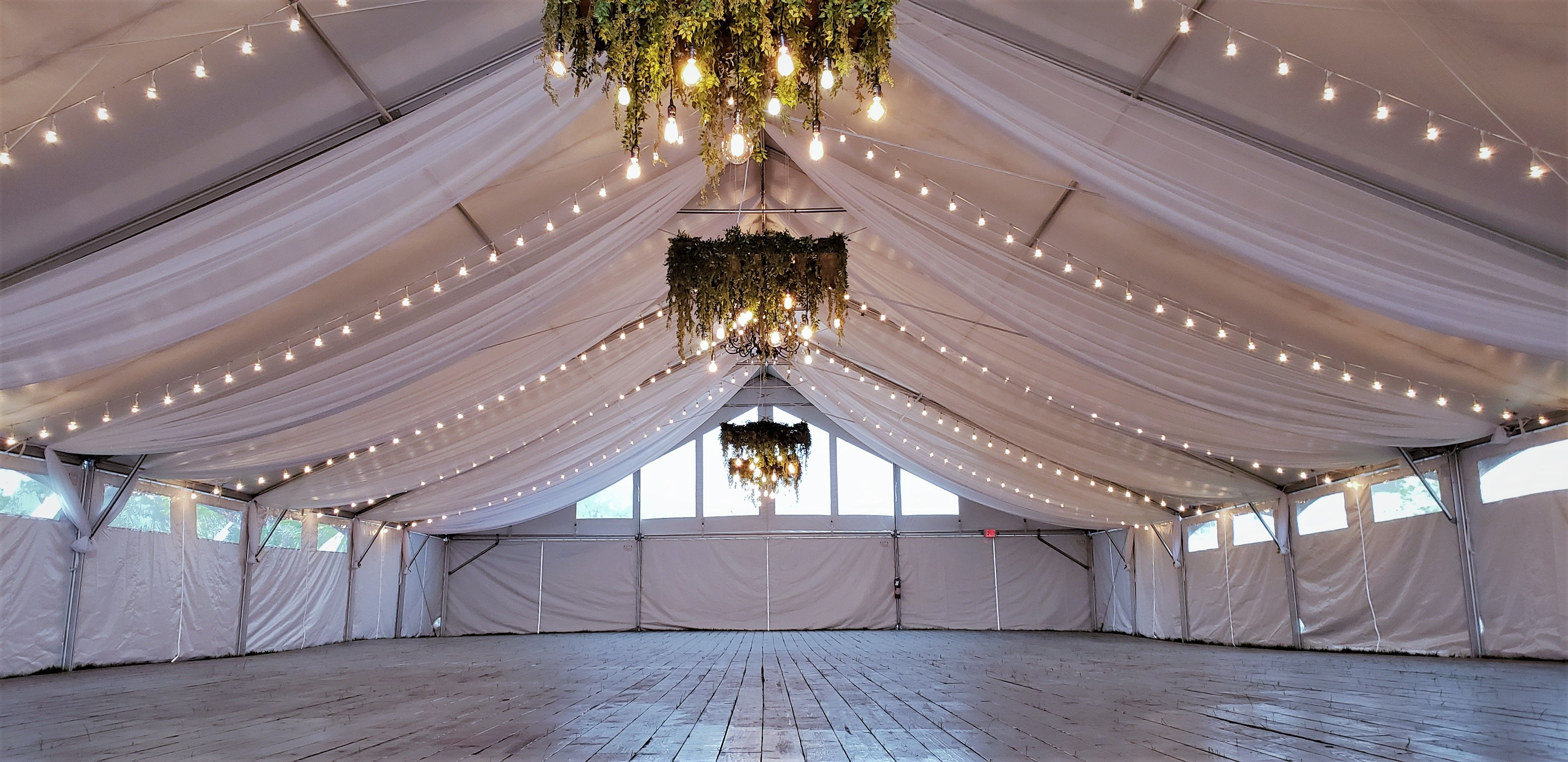 Bistro Lights And Draping In A Frame Tent Event Tent Decor