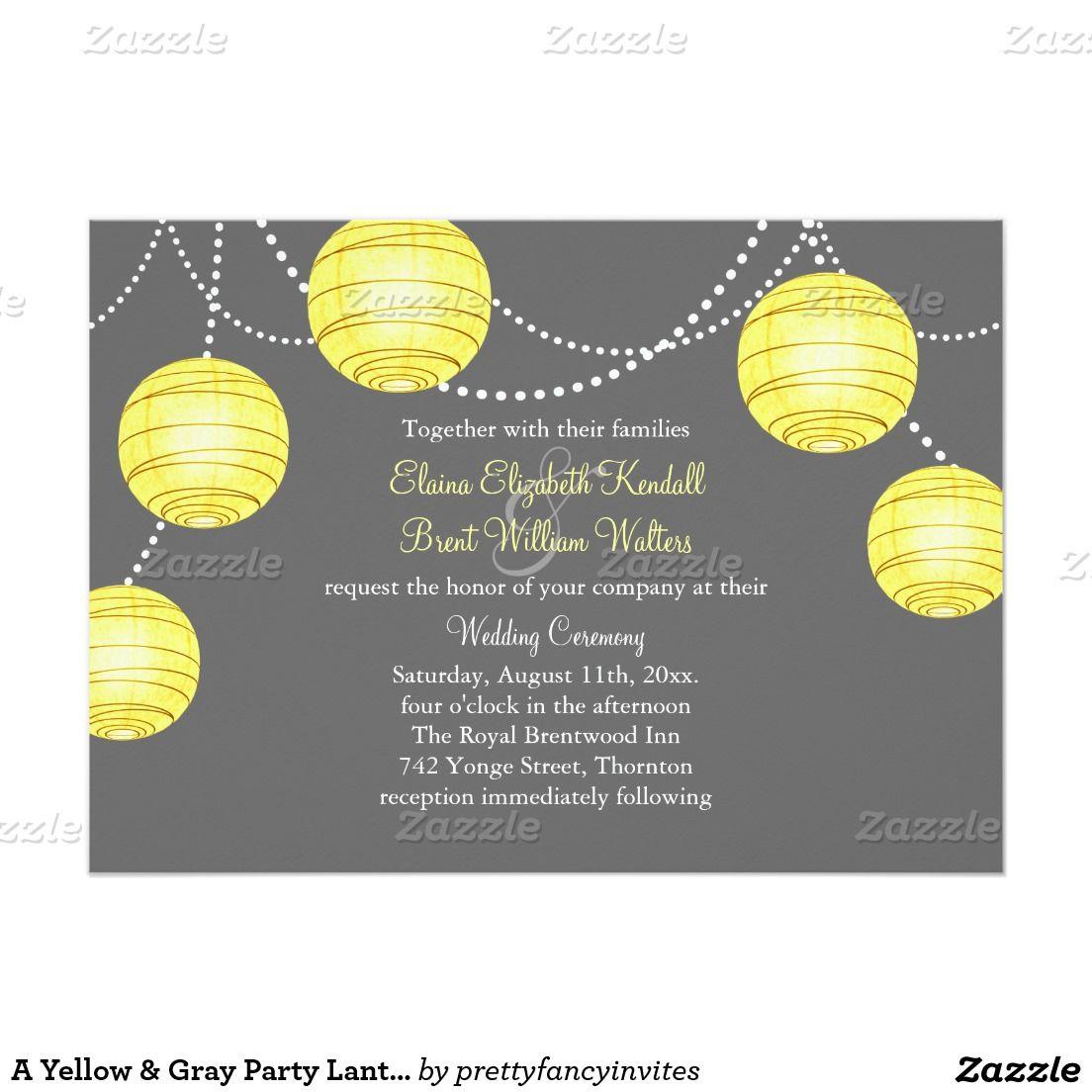 A Yellow & Gray Party Lanterns Wedding Invitation