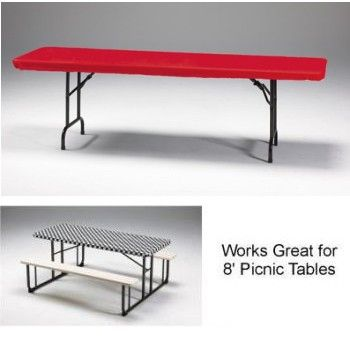 Red 8 Banquet Stay Put Elastic Fitted Plastic Tablecloth Table Cloth Plastic Tablecloth Home Decor