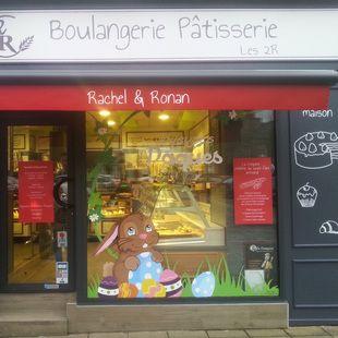 D coration vitrine de p ques boulangerie p tisserie les 2r peinture sur vitrine pinterest - Decoration paques vitrine ...