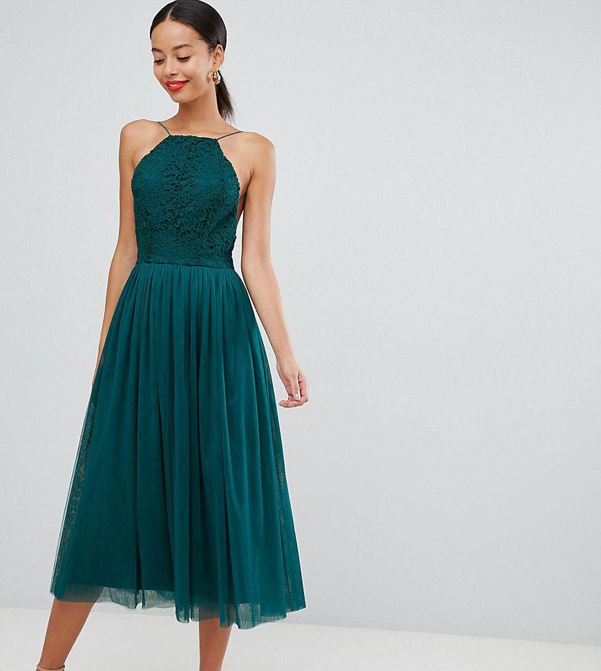 Asos Design Premium Tall Vestito Midi Da Cerimonia Verde In 2021 Green Prom Dress Prom Dresses Dresses [ 972 x 870 Pixel ]