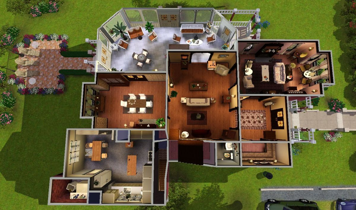 Mod the sims halliwell manor blueprints of imaginary for Mansion floor plans sims 4