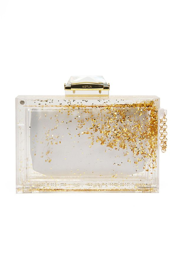 Liquid Glitter Clutch Acrylic box clutch with gold glitter loose within  liquid frame. Crystal embellishment at magnetic closure bfa982f530d2
