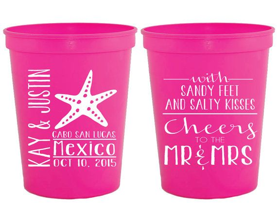 Personalized Plastic Cups Pink Party Cup Wedding Custom Beach Destination Favor Gifts 1100