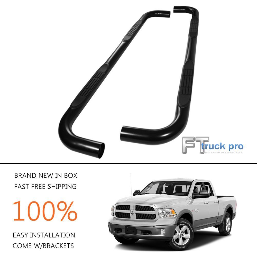 3 black nerf bars side steps running boards 09 17 dodge ram 1500 quad