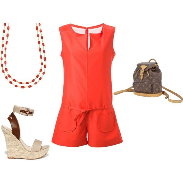 SS - DN - PLAYSUIT, SANDALS - BURNT ORANGE, BROWNS by laliquemurano on Polyvore featuring Courrèges, Liliana, Louis Vuitton and Gurhan