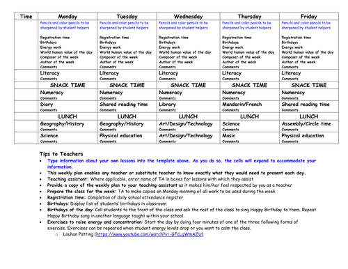 Weekly Lesson Plan Template With Tips Stuff To Buy Pinterest - Teacher lesson plan template