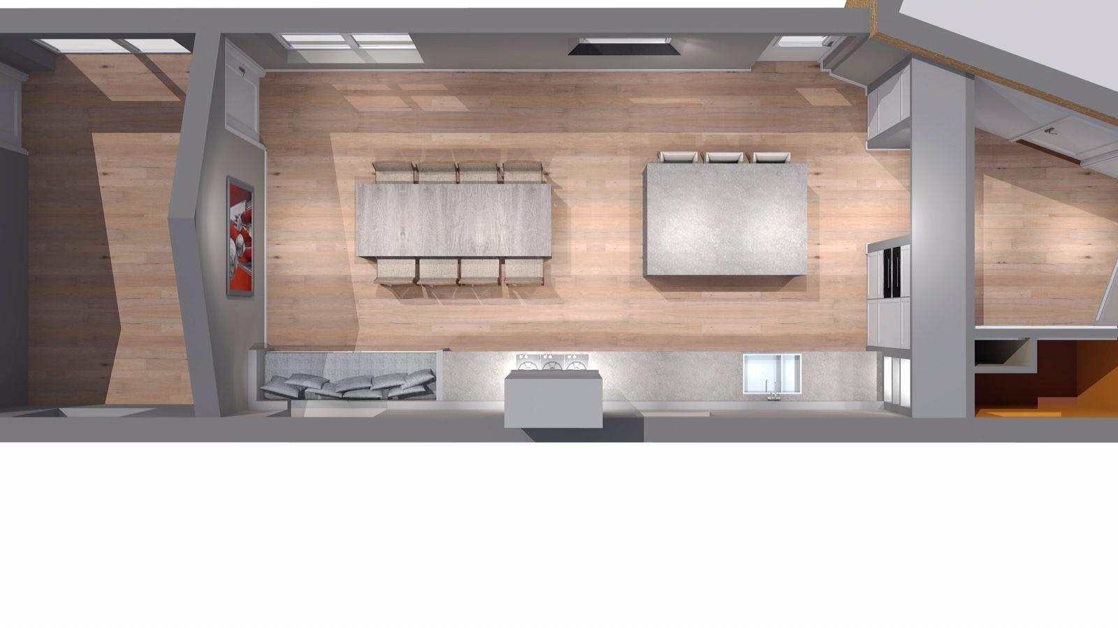 Bovenaanzicht keuken nieuwe woning | ontwerp: Michiel de Zeeuw