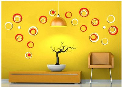 WoW Wall Stickers D Red  White  Circle Medium Acrylic - Wall decals india