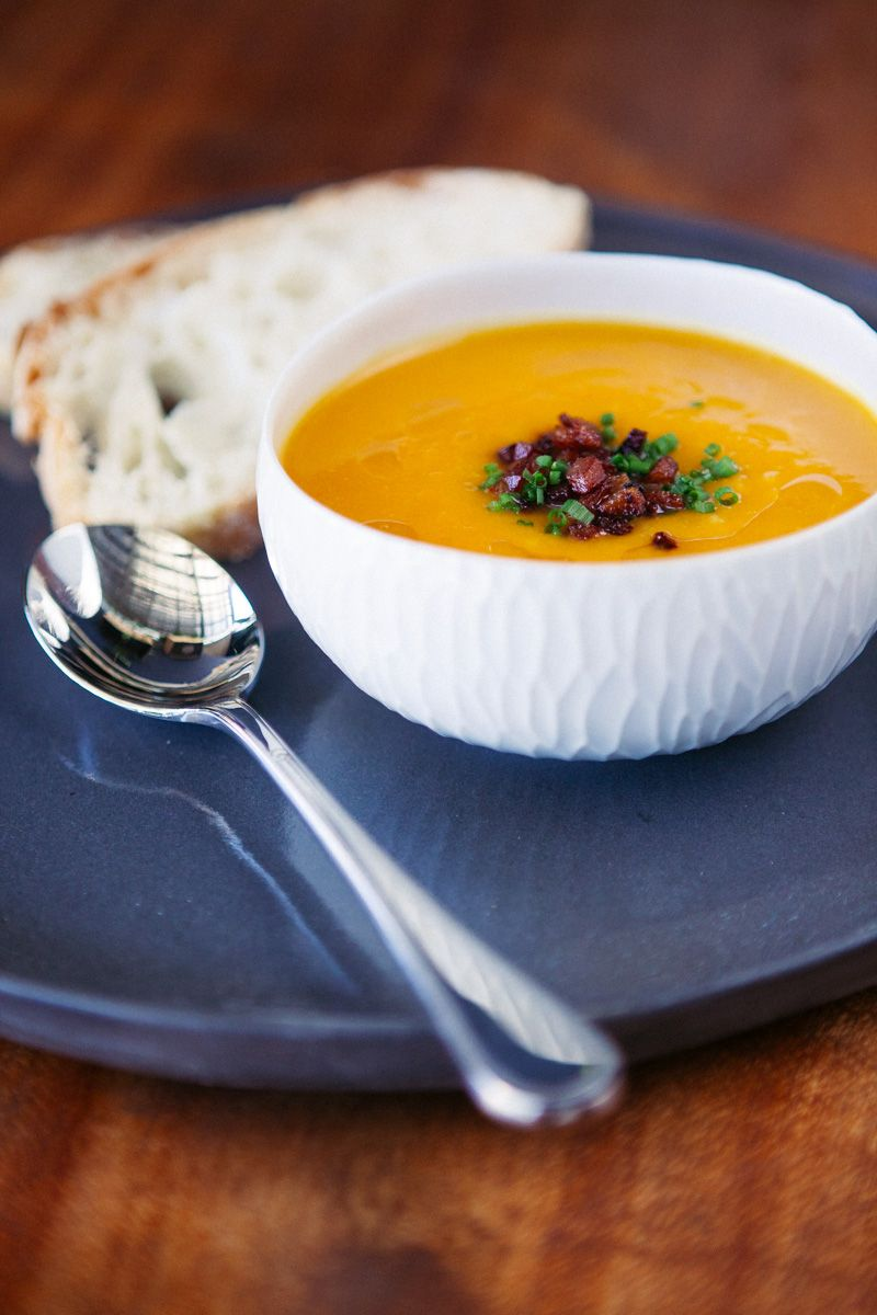 Organic Pumpkin Soup with diced Voodoo Bacon and Chives